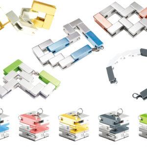 Bracelet Cube - Silver / Blue