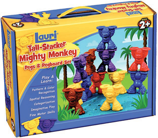 Tall Stacker Mighty Monkey Pegs and Pegboard Set
